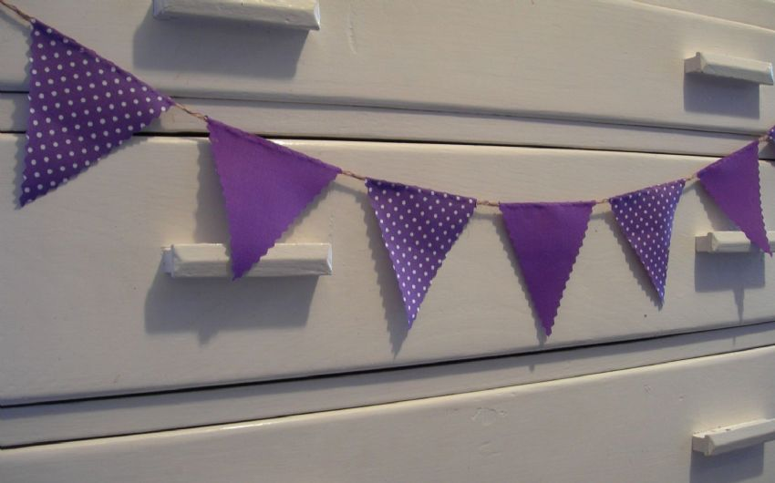 BUNTING Very Mini - Purple & Purple with White Spot - 1 metre